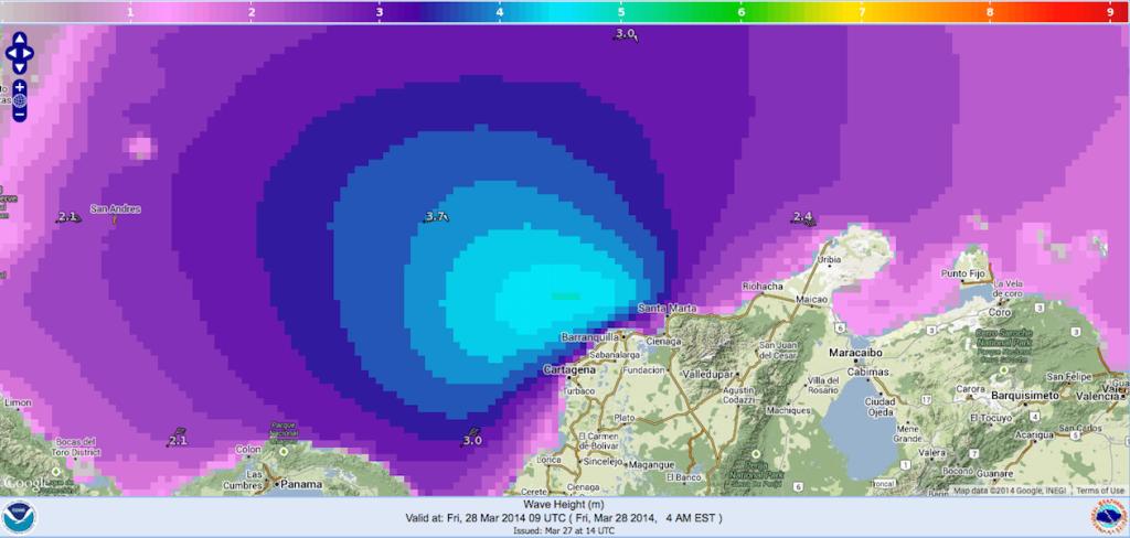 Oleaje pronosticado para el viernes 28 de marzo de 2014 por la NOAA NWS