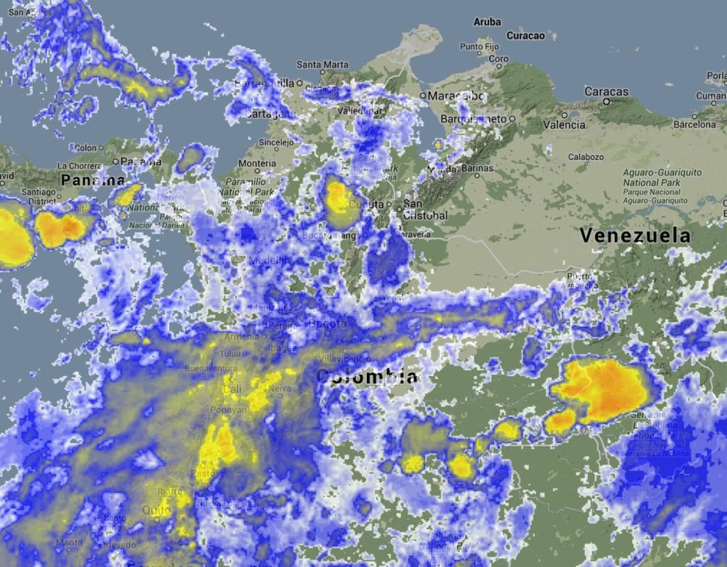 Nubosidad sobre Colombia