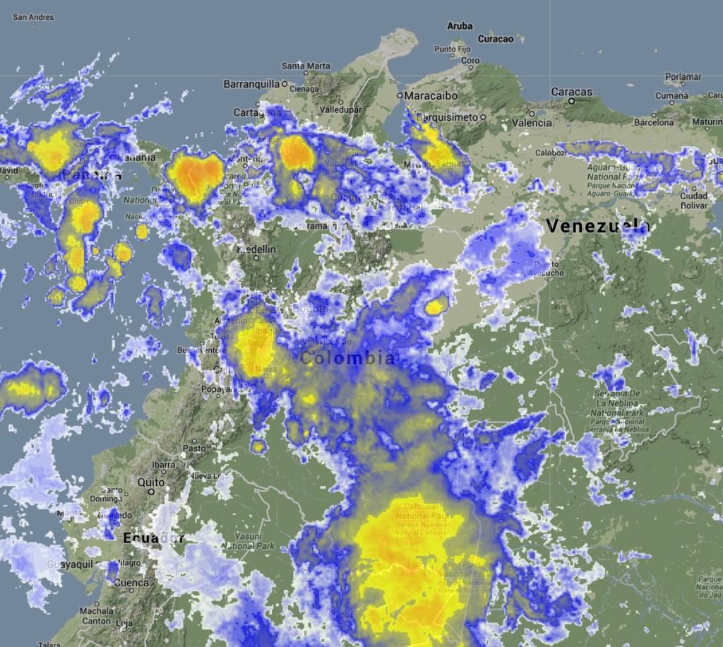Imagen satelital Colombia 17 mayo