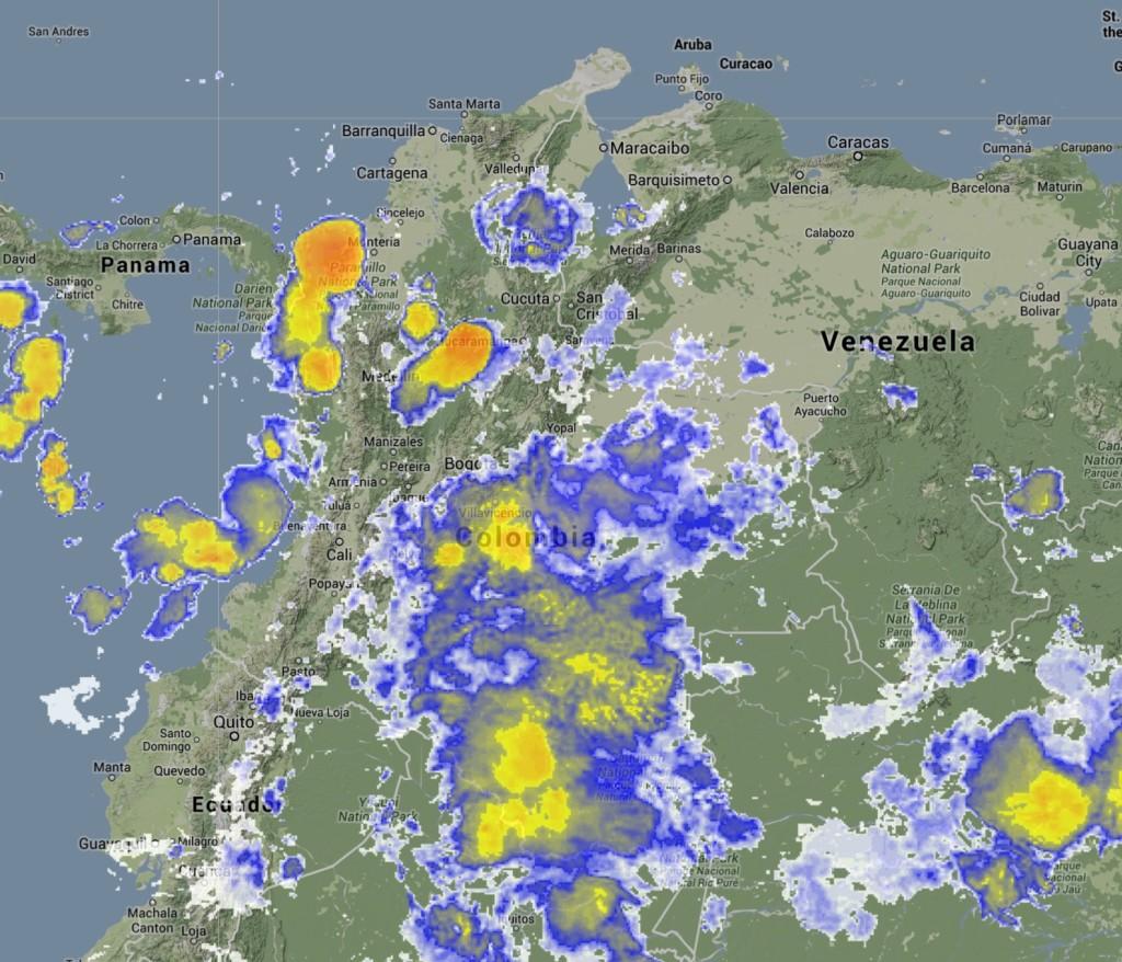 Imagen satelital de Colombia