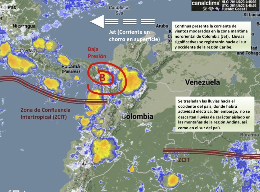 Situación meteorológica de Colombia viernes 23 de mayo de 2014