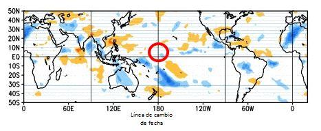 Figura 4. Anomalía de la radiación de onda larga que representa la nubosidad en el Pacífico tropical. Fuente: NOAA
