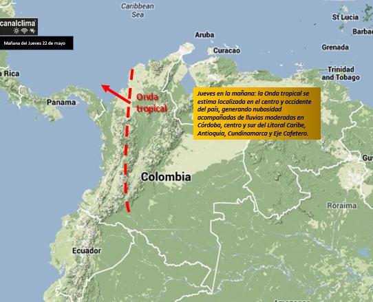 Localización estimada de la Onda del Este o tropical en la mañana del 22 de mayo de 2014