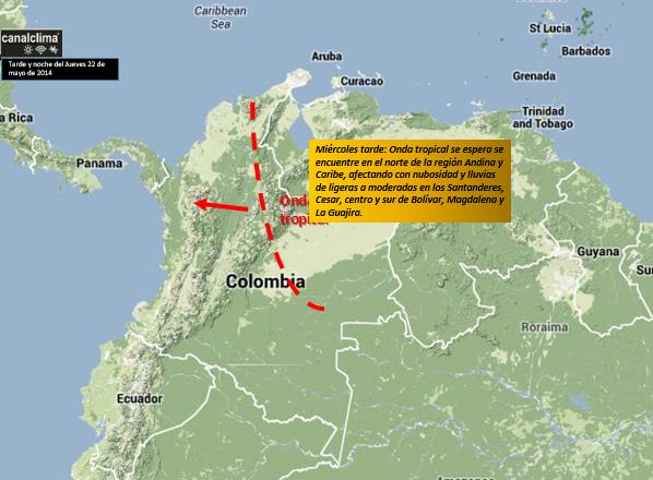 Localización estimada de la Onda del Este o tropical tarde y noche del miércoles 21 de mayo