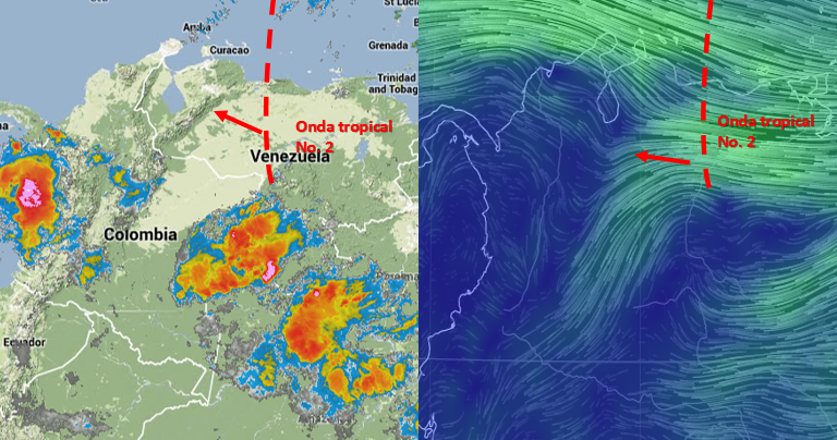 Imagen 1. a) Satélite infrarrojo 8:15 a.m. b) Configuración de vientos asociado a la Onda tropical