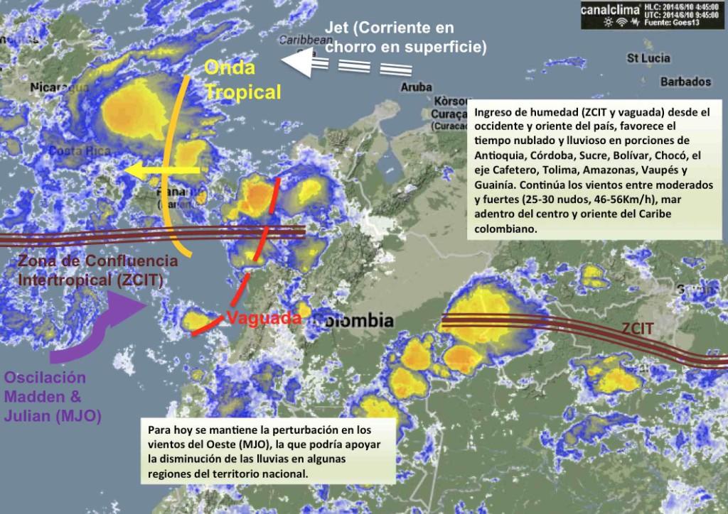 Situación meteorológica de Colombia junio 10 de 2014