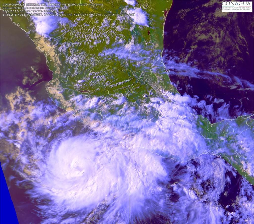 Huracán Cristina. Imagen: CONAGUA