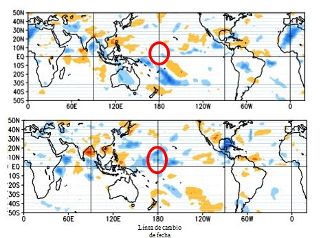 Figura 5. Anomalía de la radiación de onda larga que representa la nubosidad en el Pacífico tropical. Superior: Mayo 15 2014. Inferior: Junio 2 2014  Fuente: NOAA