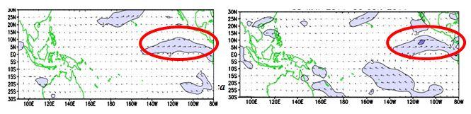 Figura 4. Viento en superficie. Izquierda: Mayo 16 2014. Derecha: Junio 2 de 2014  fuente: NOAA