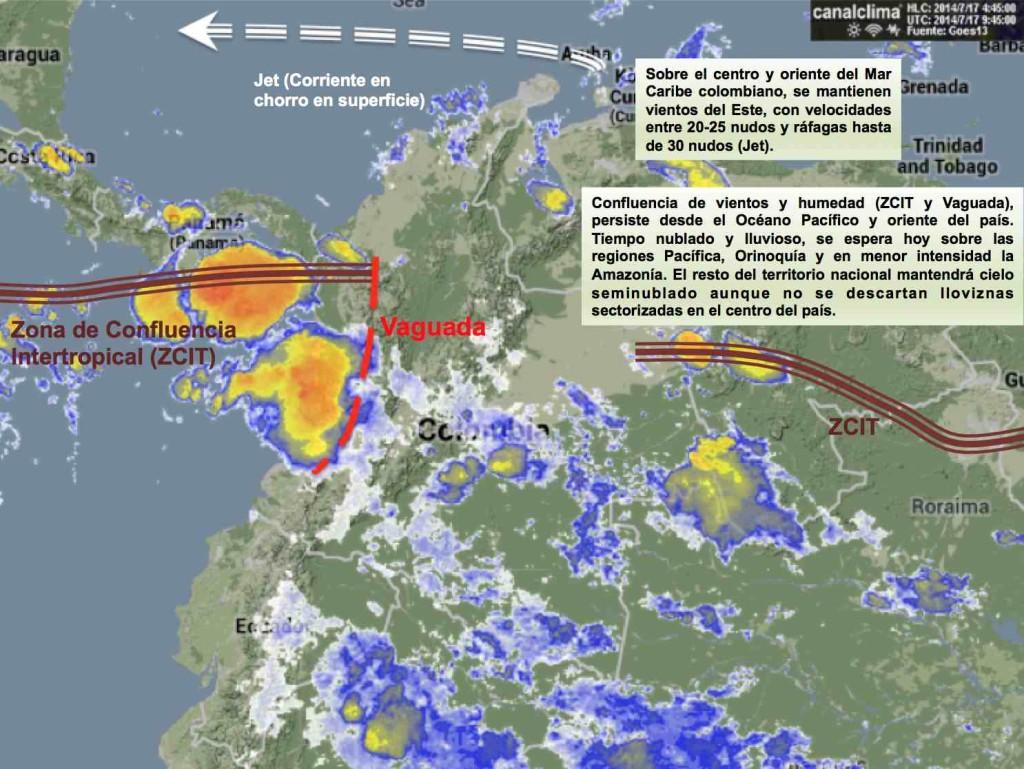 Situación meteorológica de Colombia 17/07/2014