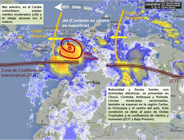 Situación meteorológica de Colombia hoy 11 de julio de 2014