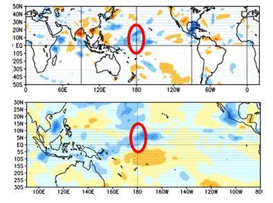 Figura 5. Anomalía de la radiación de onda larga que representa la nubosidad en el Pacífico tropical. Superior: Junio 2 2014. Inferior: Julio 2 2014  Fuente: NOAA