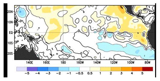 Figura 1. Anomalía de la Temperatura Superficial. Izquierda Agosto 6 2014. Derecha: Julio 30 de 2014 fuente: NOAA