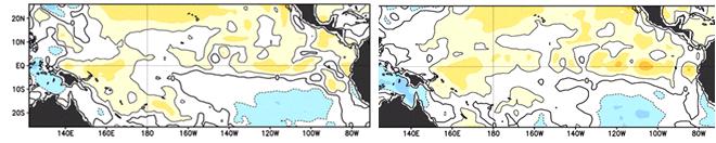 Figura 1. Anomalía de la Temperatura Superficial. Izquierda Octubre 5 2014. Derecha: Octubre 22 de 2014 fuente: NOAA