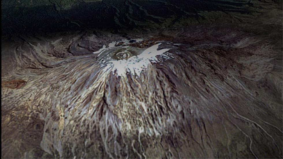 Capa de hielo del Monte Kilimanjaro, el 21 de febrero de 2000. (NASA)